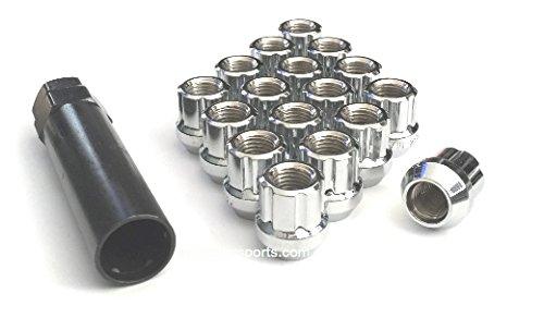 Open End Duplex Chrome Spline Acorn Drive Tuner Lug Nuts Small Diameter Wheel Locks With Key (20 Pieces) (7 Piece Lug Nut)