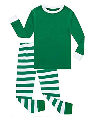 Girls Boys Christmas Pajamas Kids Red and White Striped Sleepwear Christmas Nightgown (2-3 T, Green)]()