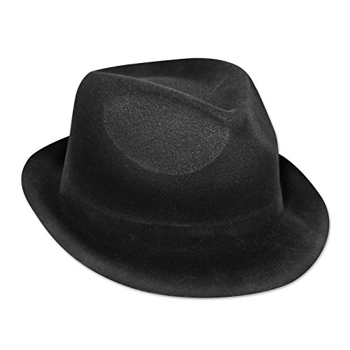 Party Central Club Pack of 25 Halloween Classy 20s Musician Black Velour Chairman Hat -