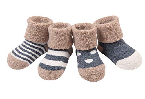 Happy Cherry Winter Verdickt Baumwolle Vintage Baby Jungen 4 Paar Socken Set Süß und Lieblich - Dunkelblau Gepunkt Gestreift 12-36 Monate