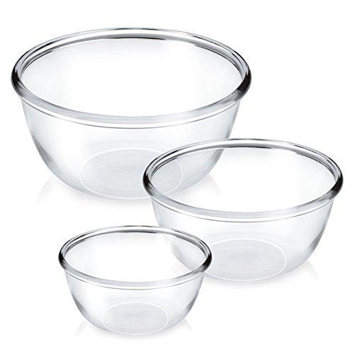 Treo Borosilicate Glass Mixing Bowl Set, 3 Pieces, Nocolortrans