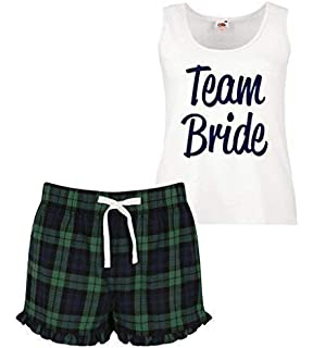 4ad3e99512 60 Second Makeover Limited Team Bride Ladies Tartan Frill Short Pyjama Set  Red Blue or Green…
