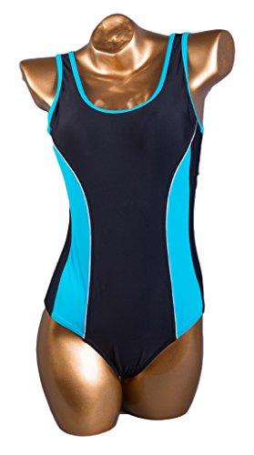 Fortuning's JDS una sola pieza traje de baño traje de baño del bikini deporte acuático atractivo sin respaldo azul negro