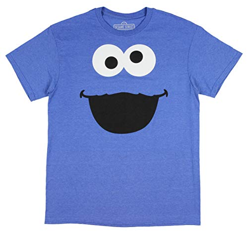 Cookie Monster Shirts For Adults (Bioworld Cookie Monster Shirt Big Face Light Blue Heather Men's Costume)
