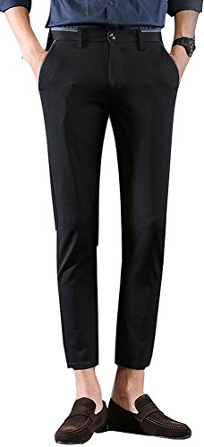 Plaid&Plain Men's Stretch Skinny Fit Casual Business Pants Ankle Dress Pants Black - Pants Cropped Dress