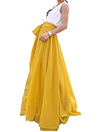 Women's Beatiful Bow Tie Summer Beach Chiffon High Waist Maxi Skirt