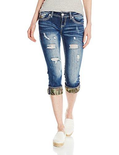Realtree by Grace in LA Womens Distressed Camo Cuff Capri Jeans