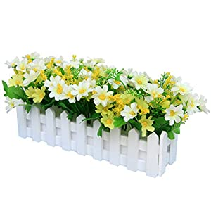 XuanMax Creative Artificial Chrysanthemum Flowers with Fence Artificial Potted Plants Simulation Fake Bonsai Home Decoration Ornaments for Table Desk Office Decor 22