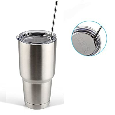 Accmor 18/8 Stainless Steel Straws, FDA-approved Durable Reusable Metal 10.5inch Extra Long Straight Drinking Straws Set of 8 – for 20 & 30OZ YETI RTIC OZARK Tumbler Cups - with 2 Cleaning Brushes