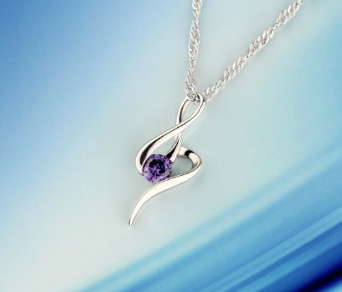 Sliver Plated-925 Sterling Silver Lovely Bling Fashion Purple Cubic Zirconia Music note Necklace / Chain--(With Cutely Gift Box)--------FREE Shipping From USA--takes 2-6 working days with shelley.kz INC--------(1 pcs only)------