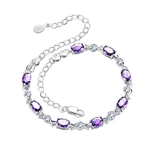 - The Small Fresh Crystal Diamon S925 Sterling Silver Bracelet Amethyst Jewelry Silver Bracelet Birthday/Valentine's Day for Women Girls (B)