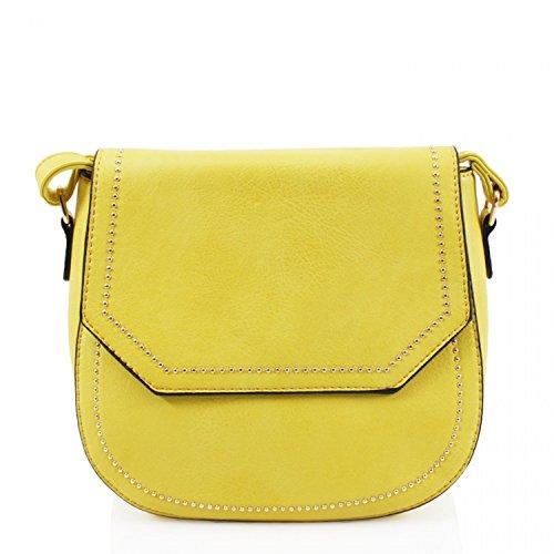 STUDDED YELLOW Cross Women's Chic Handbag Great LeahWard Brand Bag Body Across Body Cute Nice O7qPOwdtW