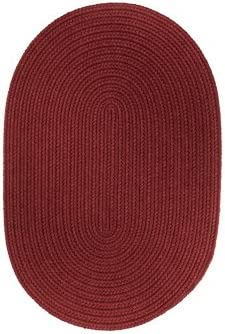 Braided 5' x 8' Oval Solid Color Area Rug Colonial Red