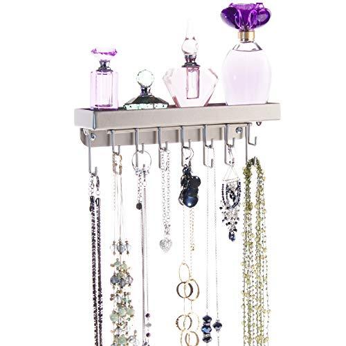 - Angelynn's Necklace Holder Organizer Wall Mount Closet Jewelry Storage Rack Floating Shelf, Fiona Satin Nickel Silver