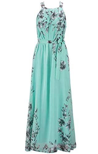 chouyatou Women's Summer Boho Halter Neck Floral Printed Chiffon Maxi Long Dress (Large, Green)