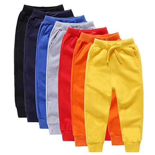 ALALIMINI Boys Sweatpants Jogging Pants for Toddler&Kids Cotton Drawstring(1-Pack 2-Pack)