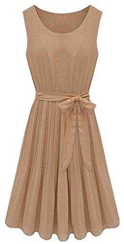 AM CLOTHES Womens Sleevess Round Neck Middle-rise Dress (Medium, D-Khaki)