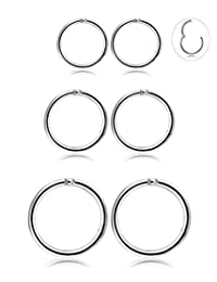 Thunaraz 3-4Pairs Stainless Steel 16G Sleeper Earrings Septum Clicker Nose Lip Ring Body Piercing