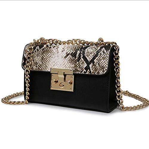 Eterna Snake Bags For Women Fashion Shoulder Bags Small Chain Messenger Crossbody Snake Leather Metropolis (Black)