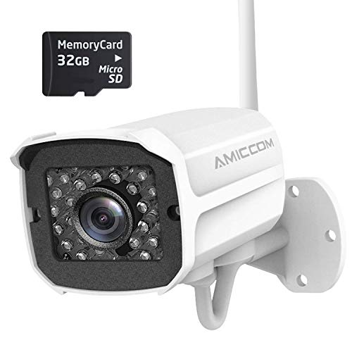 Outdoor Security Camera, 1080P WiFi Camera (1-Pack & SD Card)