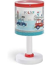 Dalber Lámpara infantil de mesilla Police Policía Coches Bomberos, azul