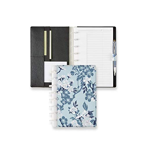 Levenger Circa Blue Magnolia Foldover Notebook - Blue floral Discbound Notebook cover for women, 60 ruled 90-gsm paper, 8-Discs, 7'' x 8.6'' | Levenger (ADS10265) - Junior by Levenger (Image #2)