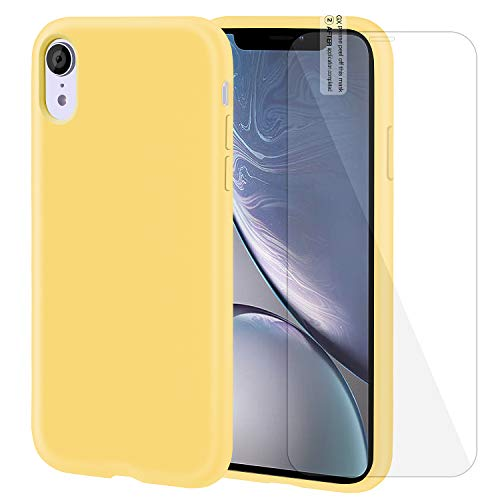 iPhone XR Case Silicone Case with Screen Protector Anti-Slip Shockproof Anti-Scratch iPhone XR Protective Case for iPhone XR 6.1 Inch (Yellow) ()