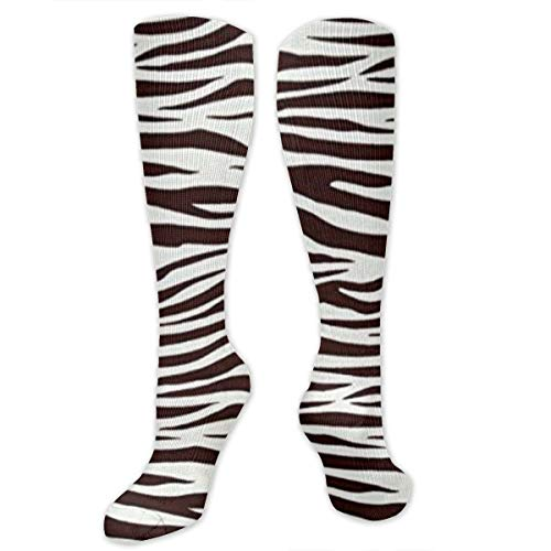 Yitlon8 Metro Living Zebra Chocolate Compression Socks for Women & Men - Best for Running, Athletic Sports, Crossfit, Flight Travel -Maternity Pregnancy, Shin Splints - Below Knee High