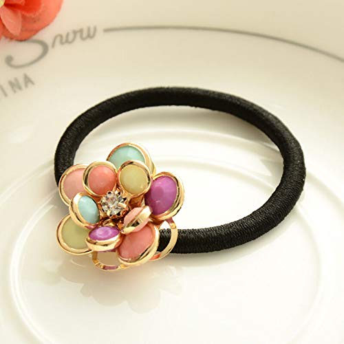 MOPOLIS Women Rhinestone Flower Rubber Hair Bands Ponytail Holder Hair Accessories | Color - Colorful
