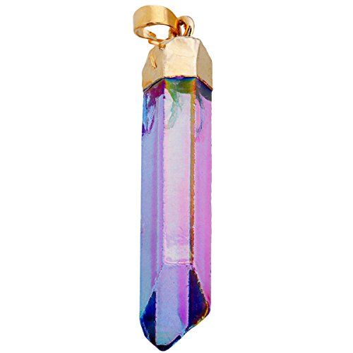 SUNYIK Blue/Purple Angel Aura Quartz Pendant,Raw Point Rock Crystal Necklace,Titanium Healing Jewelry