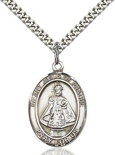 Sterling Silver Infant of Prague Medal Pendant, 1 Inch