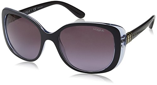 VOGUE Women's Metal Twist Collection Rectangular Sunglasses, Top Opal Grey/Serigraphy, 55 - Brand Vogue Sunglasses