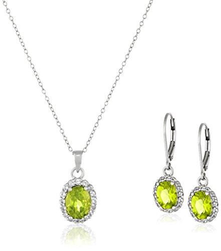 Peridot Topaz Jewelry Set (Sterling Silver Peridot Pendant Necklace and Earrings Jewelry Set)