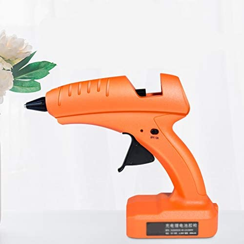 Xing zhe 10本のスティックのり、アルミノズル、ホームDIY創造、クイックフィックス、オレンジとのワイヤレスホットメルト接着ガン、30-80Wリチウム二次電池のホットメルト接着ガン、 贈り物 (Color : Orange)
