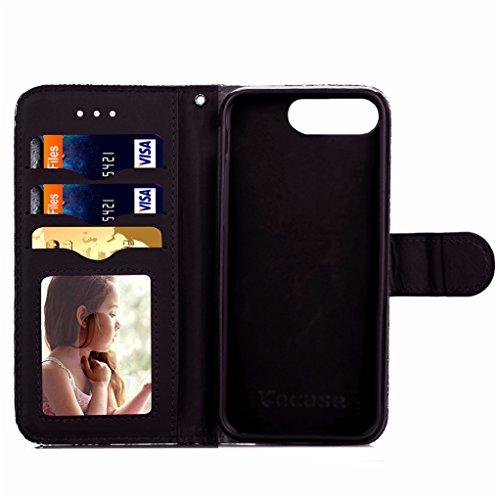 Trumpshop Smartphone Carcasa Funda Protección para Apple iPhone 7 Plus 5.5 (Series Retro) + Oro + PU Cuero Caja Protector Billetera con Cierre magnético la Ranura la Tarjeta Choque Absorción Negro