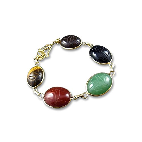 (Milano Jewelers TIGER EYE JADE CARNELIAN ONYX 14KT YELLOW GOLD 3D SCARAB BRACELET #2068)