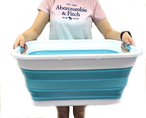 SAMMART Collapsible Plastic Laundry Basket - Foldable Pop Up Storage Container/Organizer - Portable Washing Tub - Space Saving Hamper/Basket (Bright Blue)