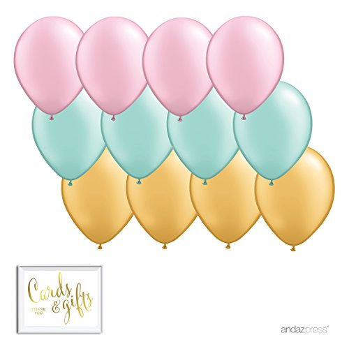 Andaz Press 11-inch Latex Balloon Trio Party Kit with Gold Cards & Gifts Sign, Blush Pink, Mint and Gold, 12-pk