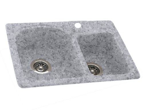 swanstone ksdb3322042 33inch by 22inch dropin double bowl kitchen sink gray granite - Granite Composite Sinks