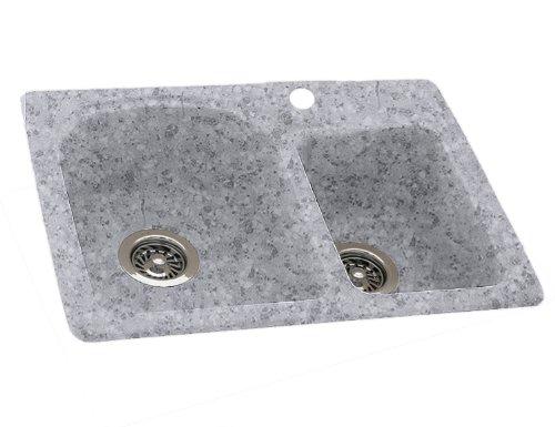 Swan KS03322DB.042 33-in L x 22-in W x 9-in H Solid Surface Kitchen Sink, Gray Granite