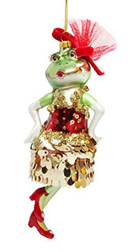 December Diamonds Frog Lady with Sequin Dress Glass Christmas Ornament 7980503
