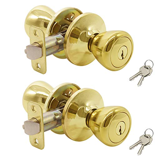 Entrance Door Konb Entry Lockset Keyed Knobsets Door Handles in Polished Brass, 2 Pack,Keyed Alike