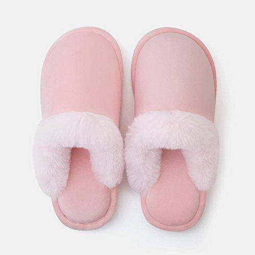 DogHaccd pantofole,Home paio di pantofole di cotone, spessa caldo inverno piscina incantevole soggiorno pantofole di peluche maschio,Rosa chiaro
