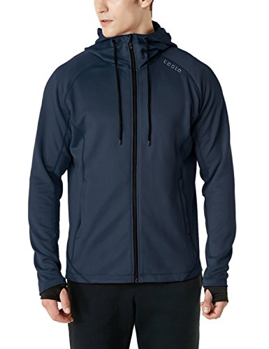 TSLA Men's Performance Active Training Full-Zip Hoodie Jacket, Active Fullzip(mkj03) - Navy, 2X-Large ()