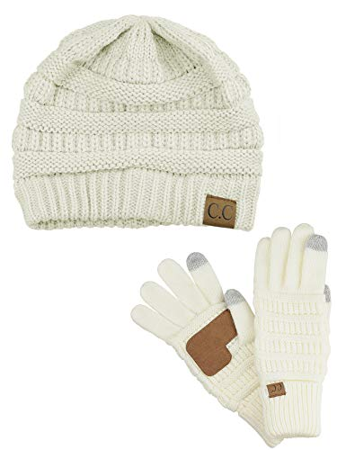 C.C Unisex Soft Stretch Cable Knit Beanie and Anti-Slip Touchscreen Gloves 2 Pc Set, ()