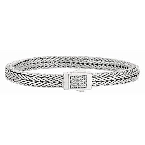 En argent sterling 925plaqué rhodium chaîne blé Bracelet Tissage