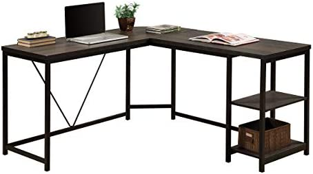 Merax Corner Home Office Wood Laptop Table Study Desk Black