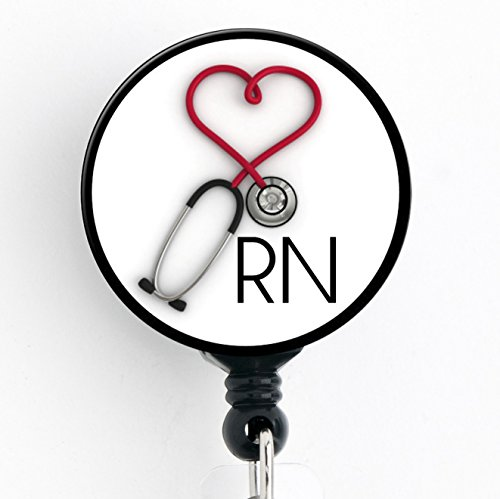 RN Heart Stethoscope - Retractable Badge Reel With Swivel Clip and Extra-Long 34 inch cord - Badge Holder