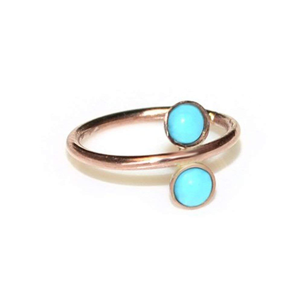 Cartilage Hoop 2mm Turquoise Nose Ring Gold 20 gauge Handmade Tragus Earring