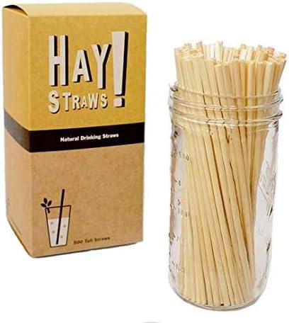 100 Pack HAY Tall 7.75 Straws Natural Drinking Straws